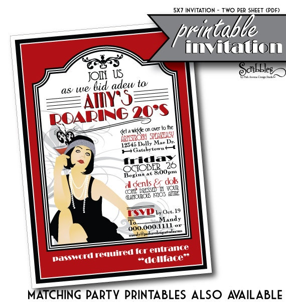 ROARING 20s Printable Party Invitation by ScribblesbyParkAve