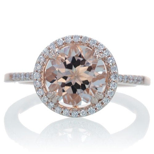 Gold round morganite engagement ring diamond halo solitaire engagement