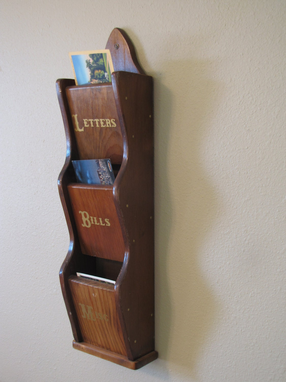 Vintage Wooden 3 Slot Mail Organizer By Heartlandvintageshop