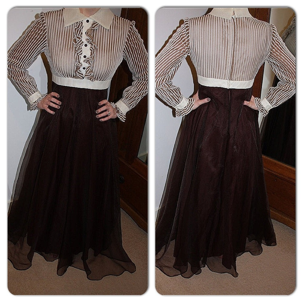 Vintage 1970s brown and cream evening maxi dress