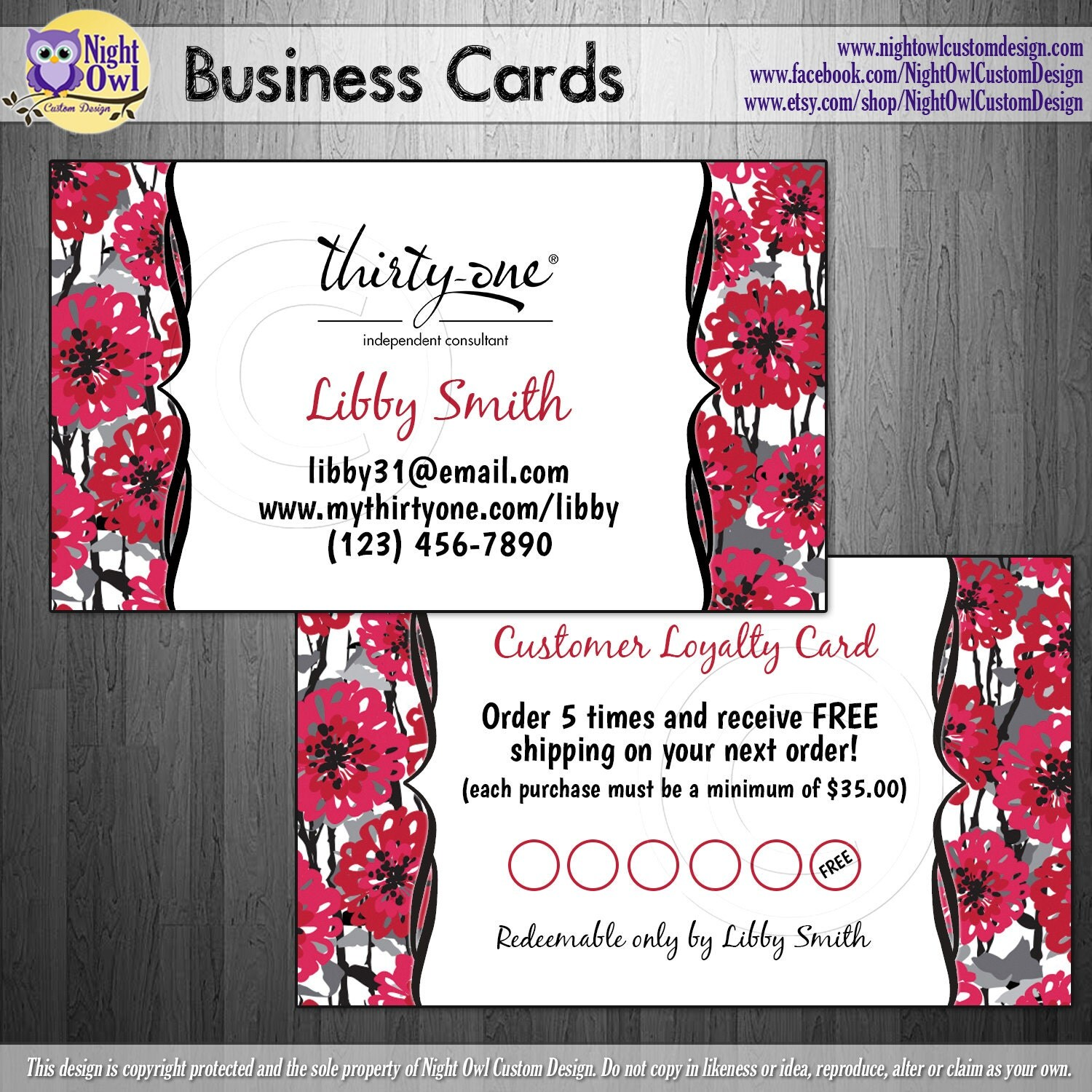 Thirty e Gifts Consultant business cards by