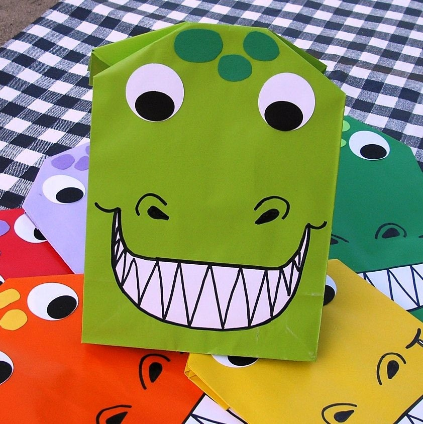 Dinosaur Treat Sacks - Roar T Rex Dino Birthday Party Goodie Bags by jettabees on Etsy