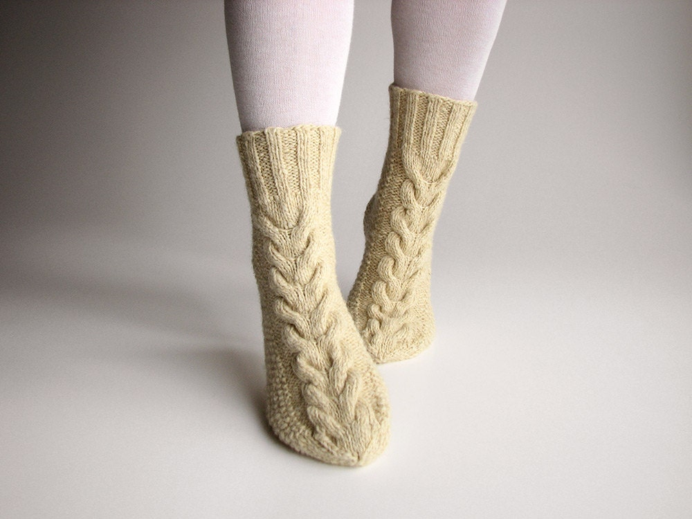 Hand Knitted Braided Cable Women's Socks - 100 % Natural Organic Wollen Eco Clothing - Unbleached White Wool Yarn - milleta