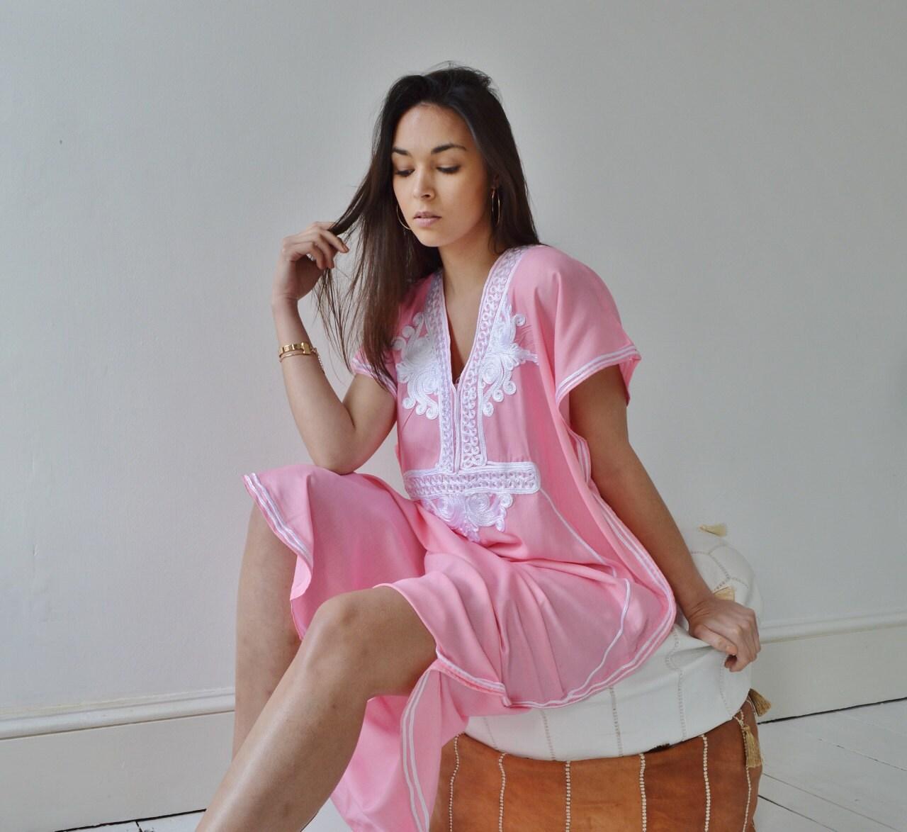 Pink with White Marrakech Resort Caftan Kaftan beach cover ups resortwearloungewear maxi dresses birthd