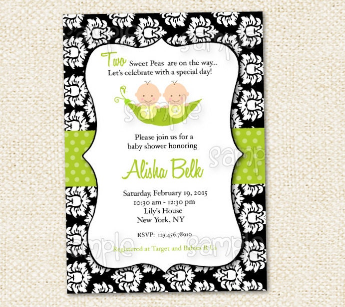 two peas in a pod baby shower invitation by lollipopprints on etsy