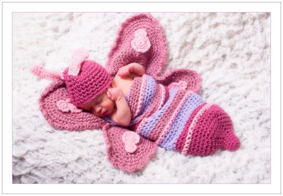 Crochet Butterfly Hat and Cocoon Set by Lilydotcrochet on Etsy