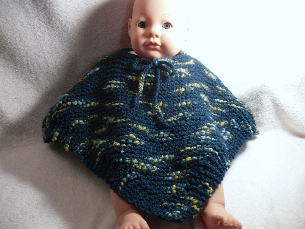 Hand Knitted Baby Poncho in Tickle Me Teal- size 6 mo to 2 year - Sale