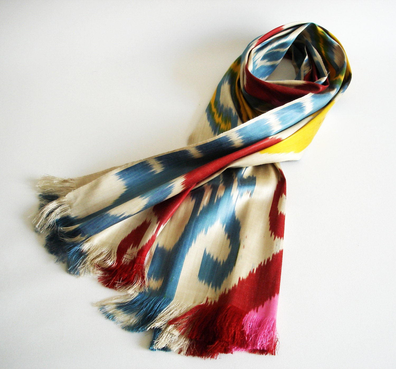 Sukan / Hand Woven ikat Silk Scarf,  Yellow, Cream, Beige Color, Red, Pink, Yellow, Blue, Brown - sukan