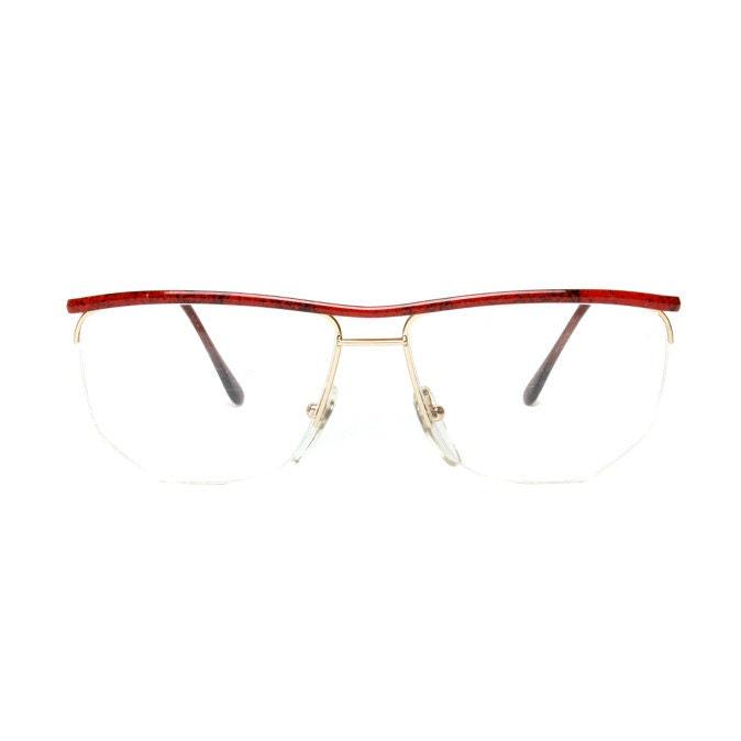 Vintage Eyeglass Frames Etsy : Gold / Red Metal Vintage Eyeglasses by MODvintageshop on Etsy