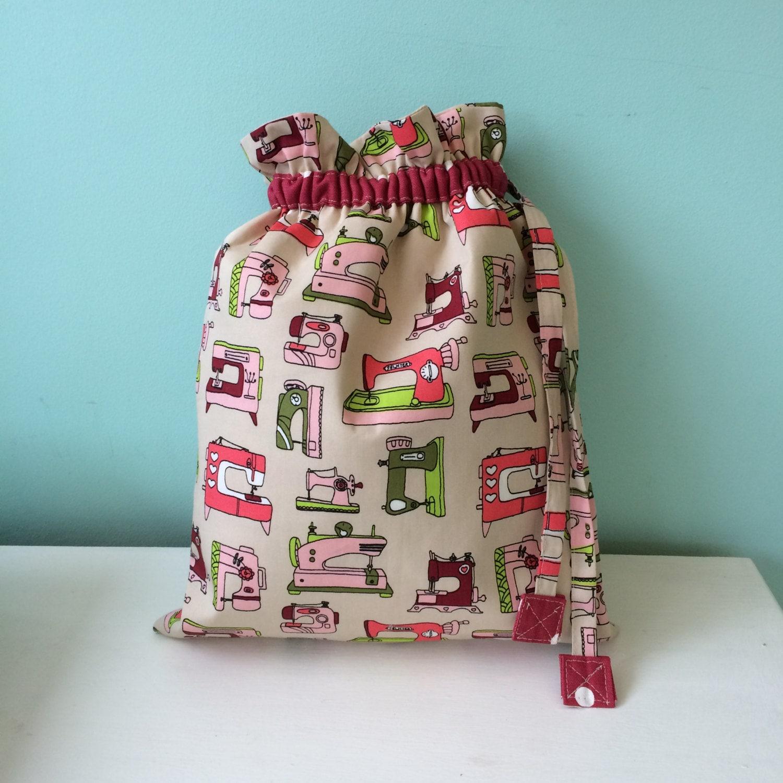 Vintage sewing machines drawstring bag drawstring sack drawstring pouch