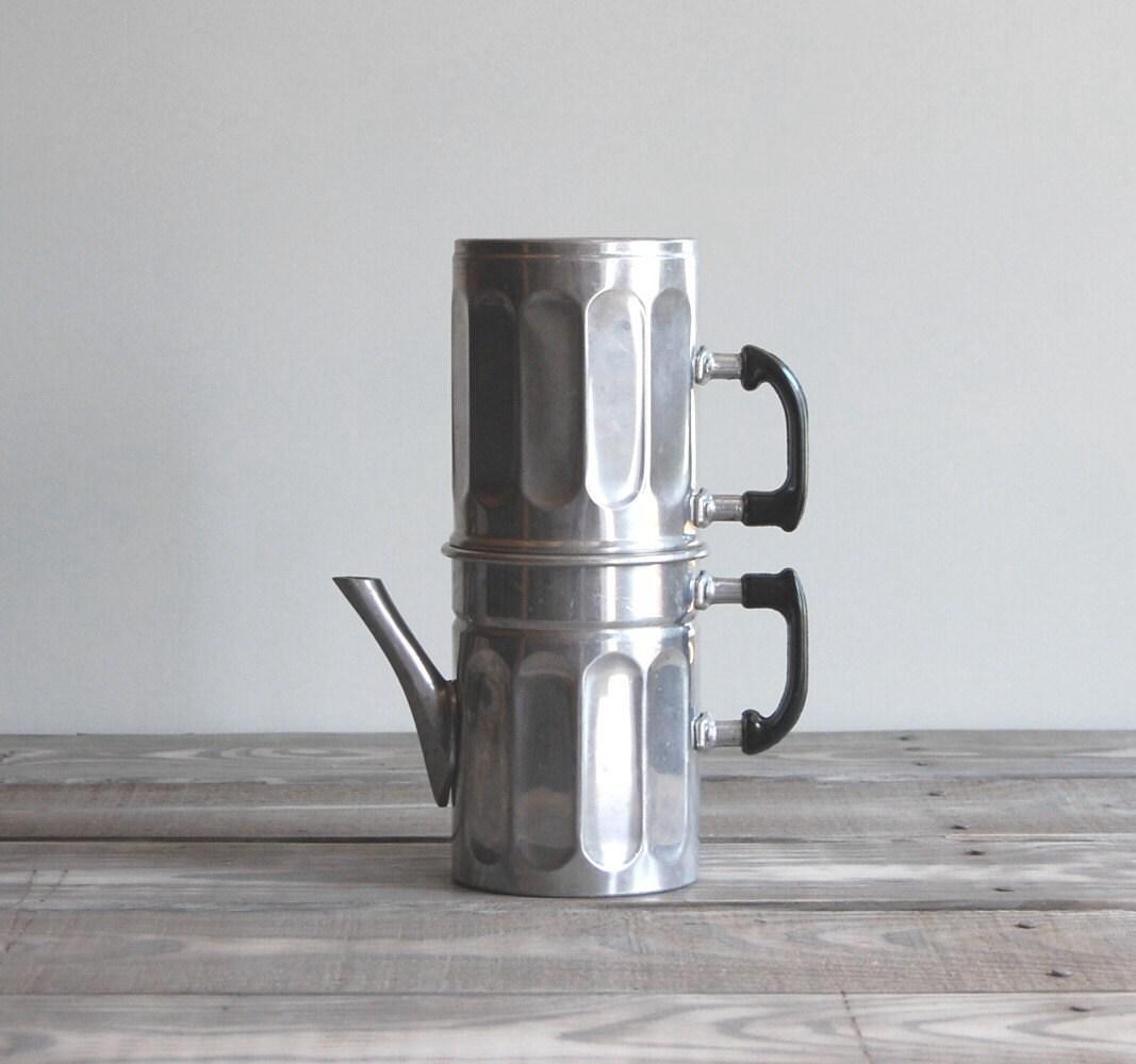 Italian Coffee Maker Aluminum : Vintage Espresso Pot / Two-Tier Aluminum Italian by reclaimer