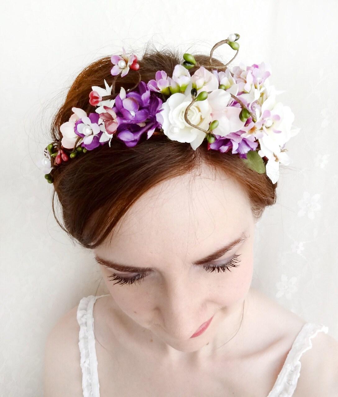 Bridal Flower Wreath For Hair : Bridal flower wreath head purple floral by thehoneycomb