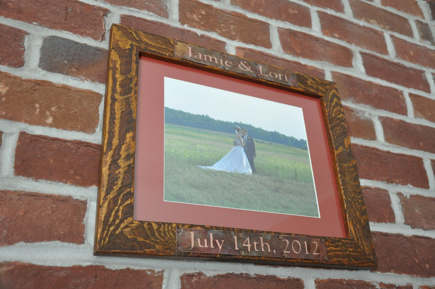 Personalized Wedding Picture Frames 8x10 : Personalized Wedding Frame 8x10 Rustic Copper by VetrinaDelVino