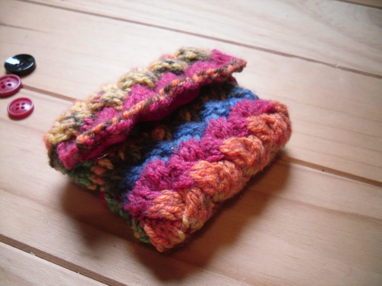 Hand Knitted Coin Purse Mini Rainbow Purse