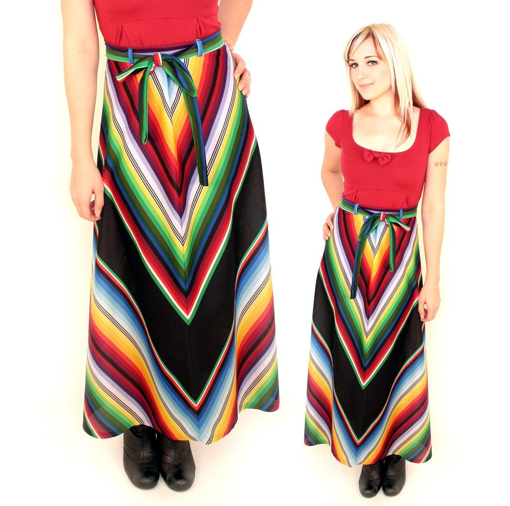 bright neon rainbow chevron striped vintage maxi skirt by