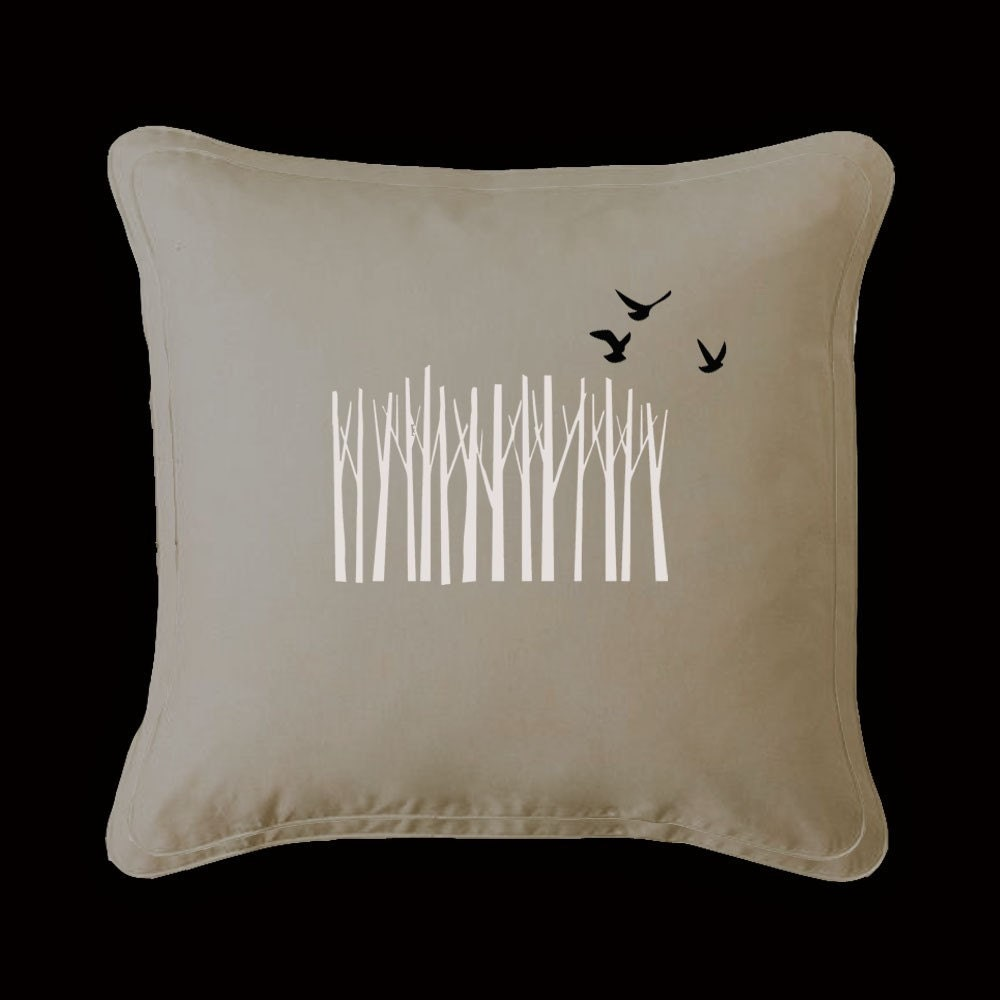BIRCHES IN A ROW-- Handpainted Pillow by ShaNickers - UrbanAccentHome