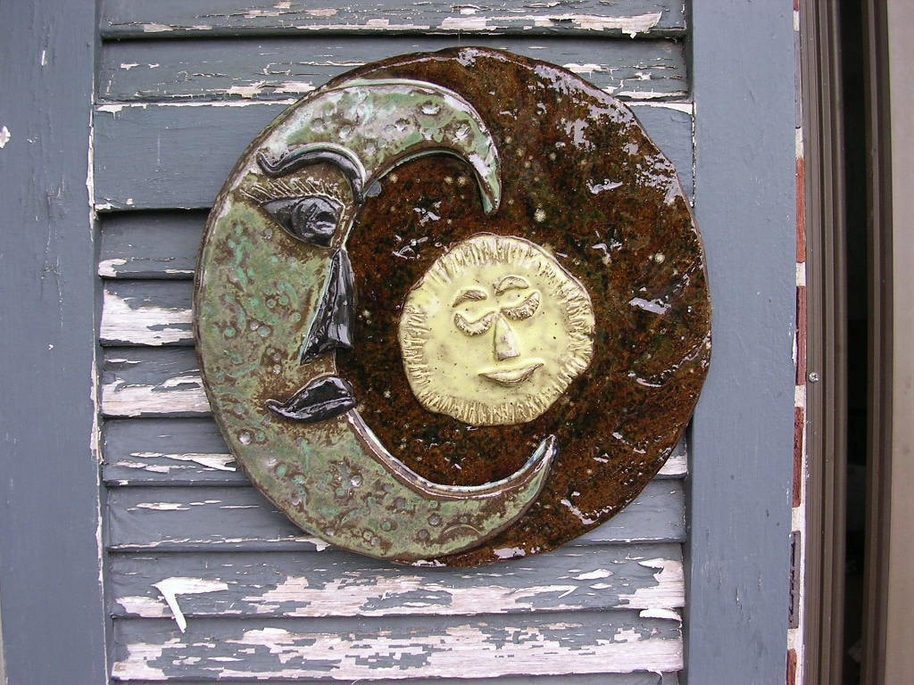 garden art plaque ceramic moon and sun by willowtreepottery. Black Bedroom Furniture Sets. Home Design Ideas