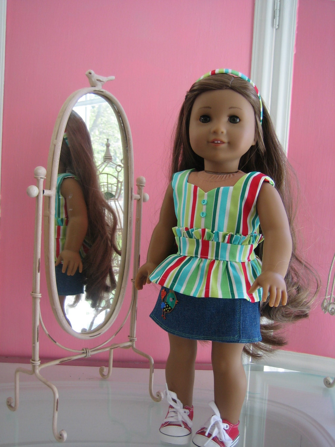 Peplum top and skort / scooter skirt made to fit 18 inch American Girl doll