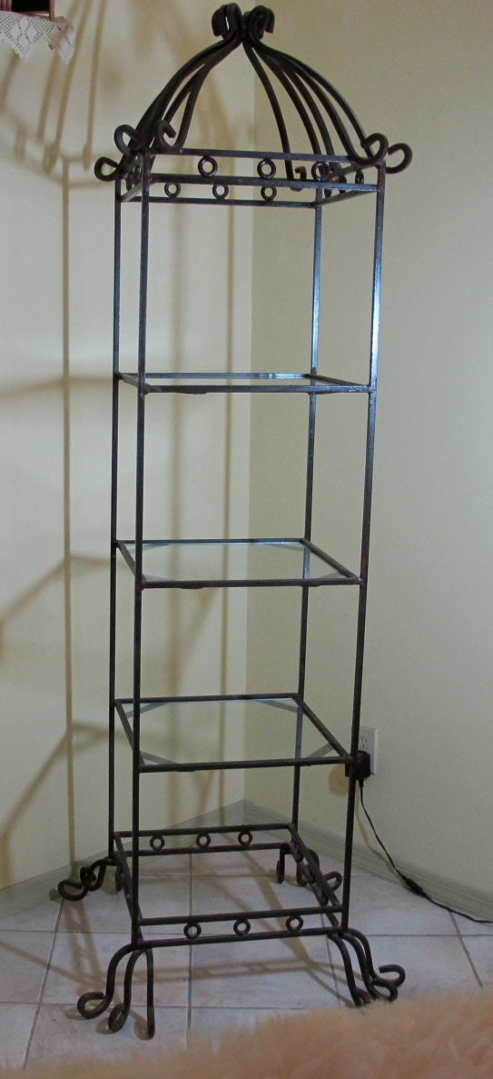 Vintage S Fancy Wrought Iron Etagere Curio Cabinet With Glass
