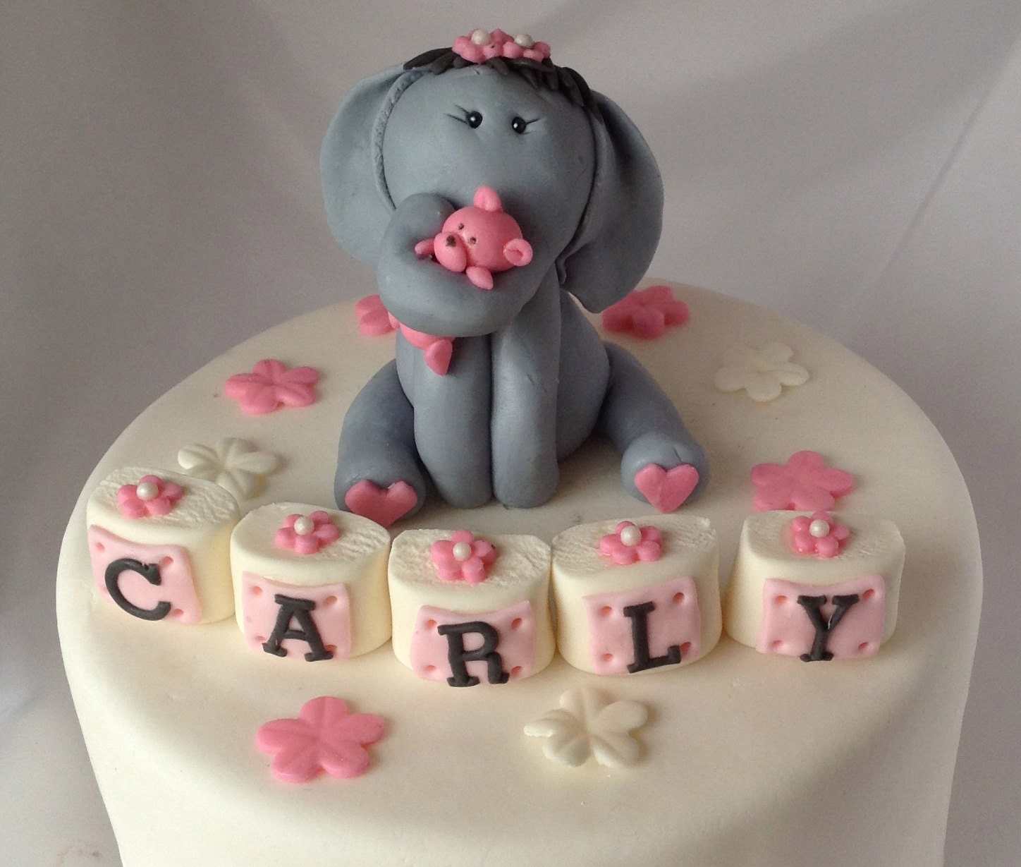 elephant fondant cake topper a first birthday by ediblesugarart