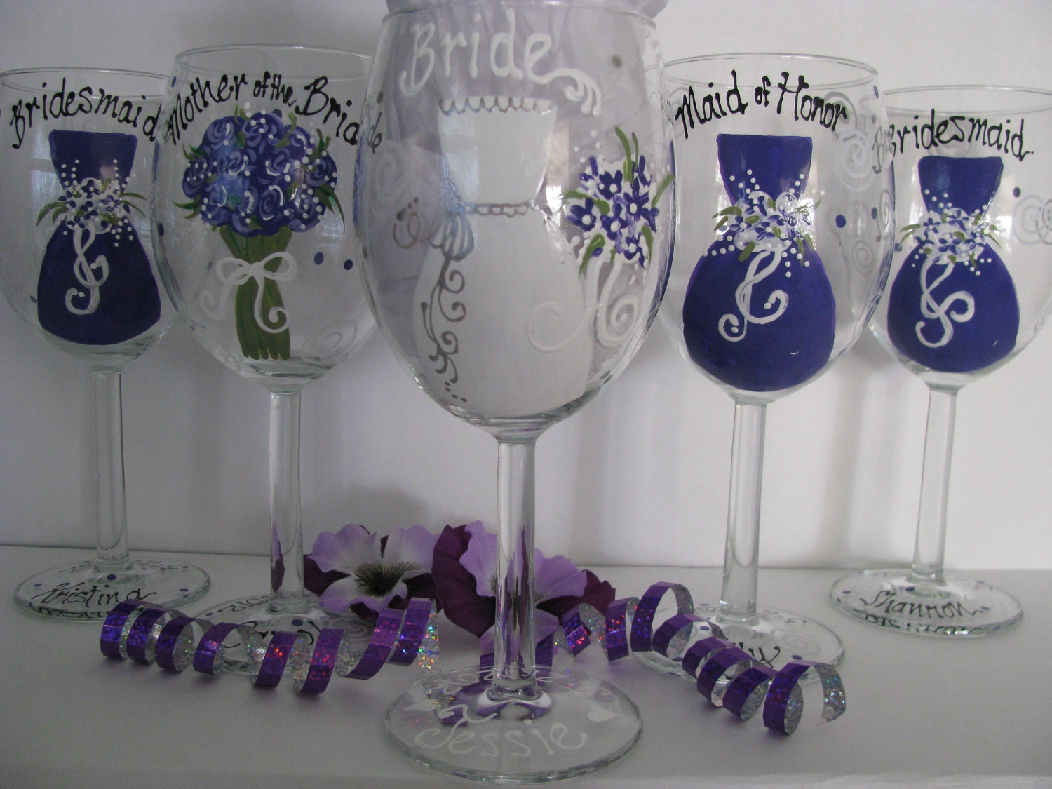 How to decorate wine glasses for bridesmaids -  Items Similar To Eleven Bridesmaid Wine Glasses Hand Personalized Hand Painted Bridesmaid From Samdesigns22