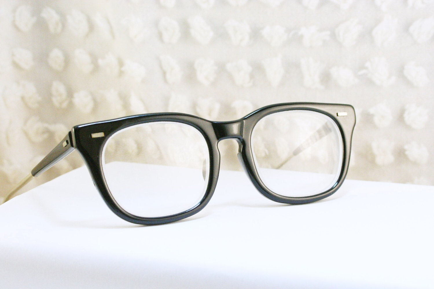 Black 1950s Squared G Man Eyeglasses Thick Horn Rim by ...