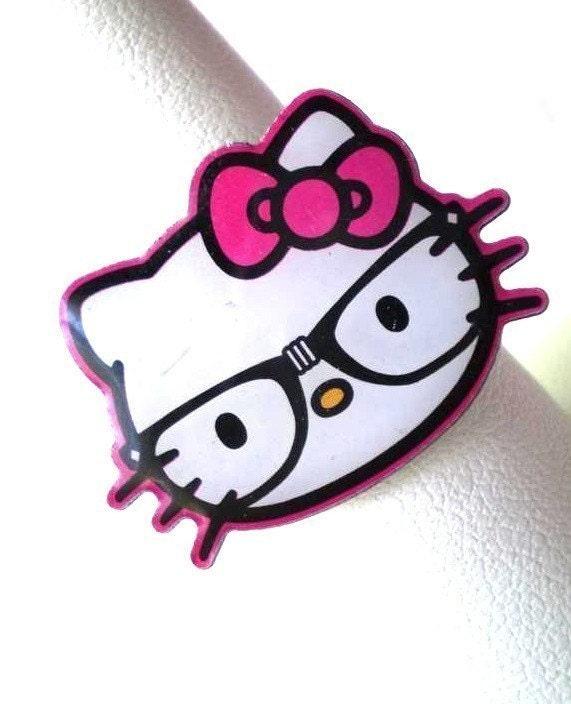 Geek Nerdy Geeky Nerd Hello Kitty Wearing Black By