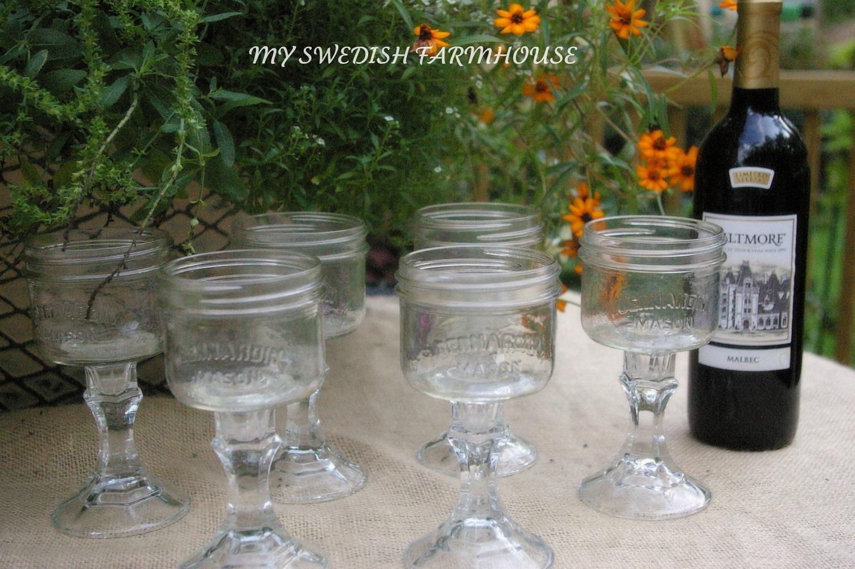 Items similar to mason jar redneck wine glasses set of 6 rustic wedding decor southern barn - Mason jar goblets ...