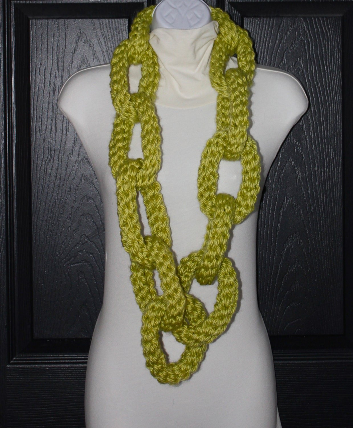 Knitting Pattern For Chain Link Scarf : Crochet Chain Link Scarf Necklace Lime Green by MaxMinnieandMe
