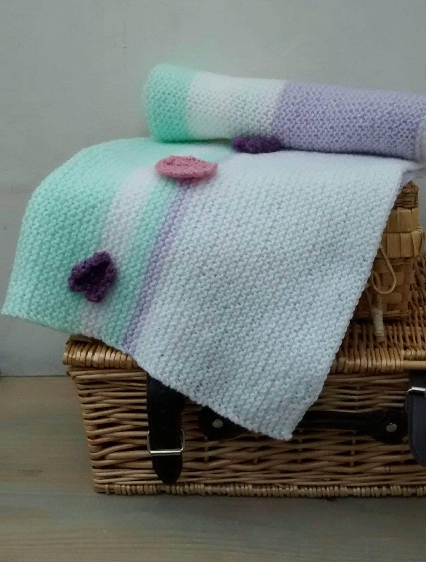 Baby Blanket  Hand Knit Blanket  Handmade Blanket   Baby Pram Cover   Pastel Striped Blanket  Baby  Baby Shower Gift