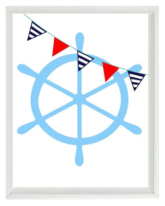 White Nautical Wall Decor : Nautical nursery ship wheel wall art print navy by