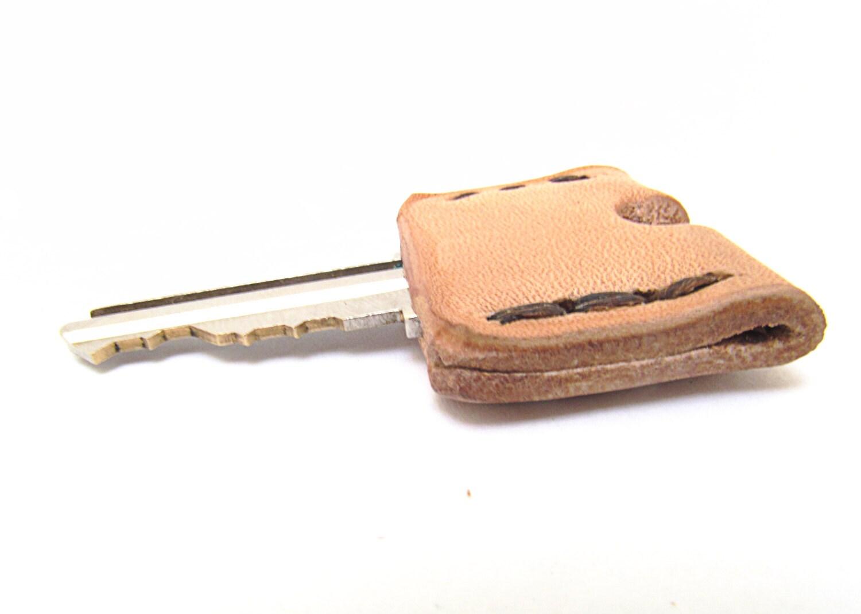 Leather Key Sleeve / Key Cap / Key Identifier / Key Cover / Tan / Monogram / Made in USA - CicadaLeatherCompany