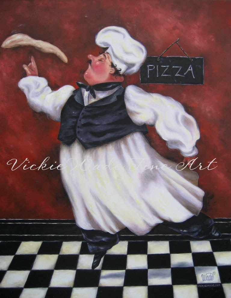Pizza Chef Art Print Fat Chefs Wall Decor By Vickiewadefineart