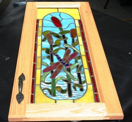items similar to dragonfly stained glass cupboard door
