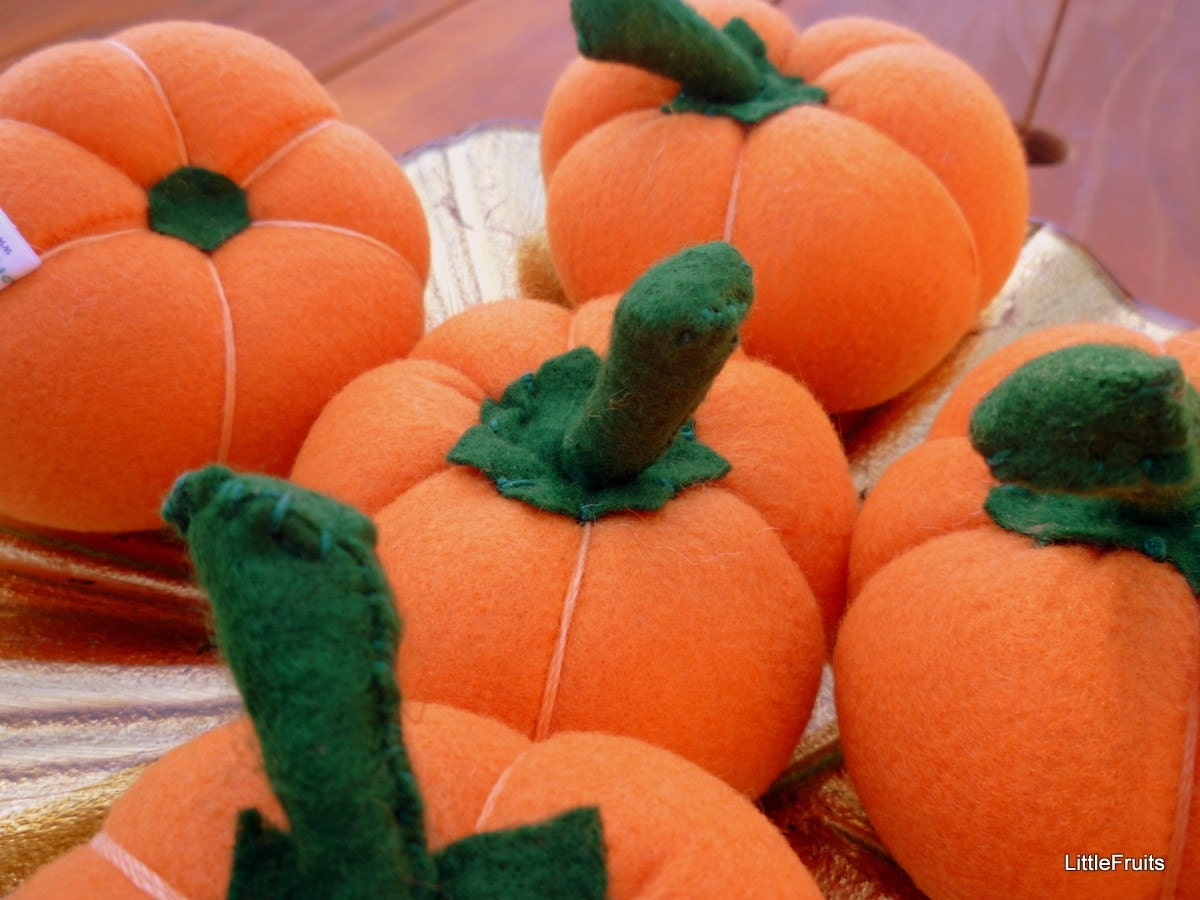 Felt Pumpkin Halloween or Thanksgiving Home Decor or Handcrafted Pretend Play Food - 1 Pc.