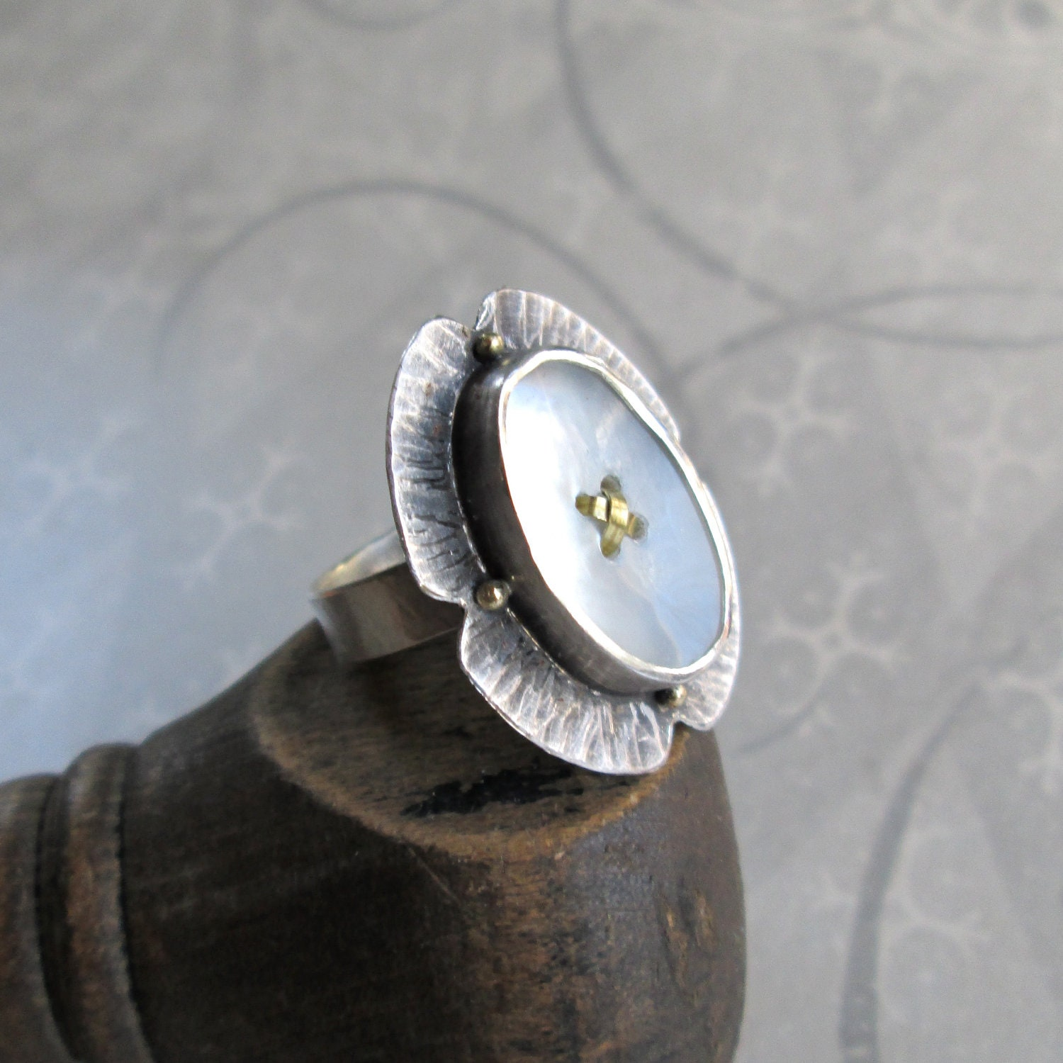RING sterling silver hammered floret with oval button 18k gold dots - quenchmetalworks