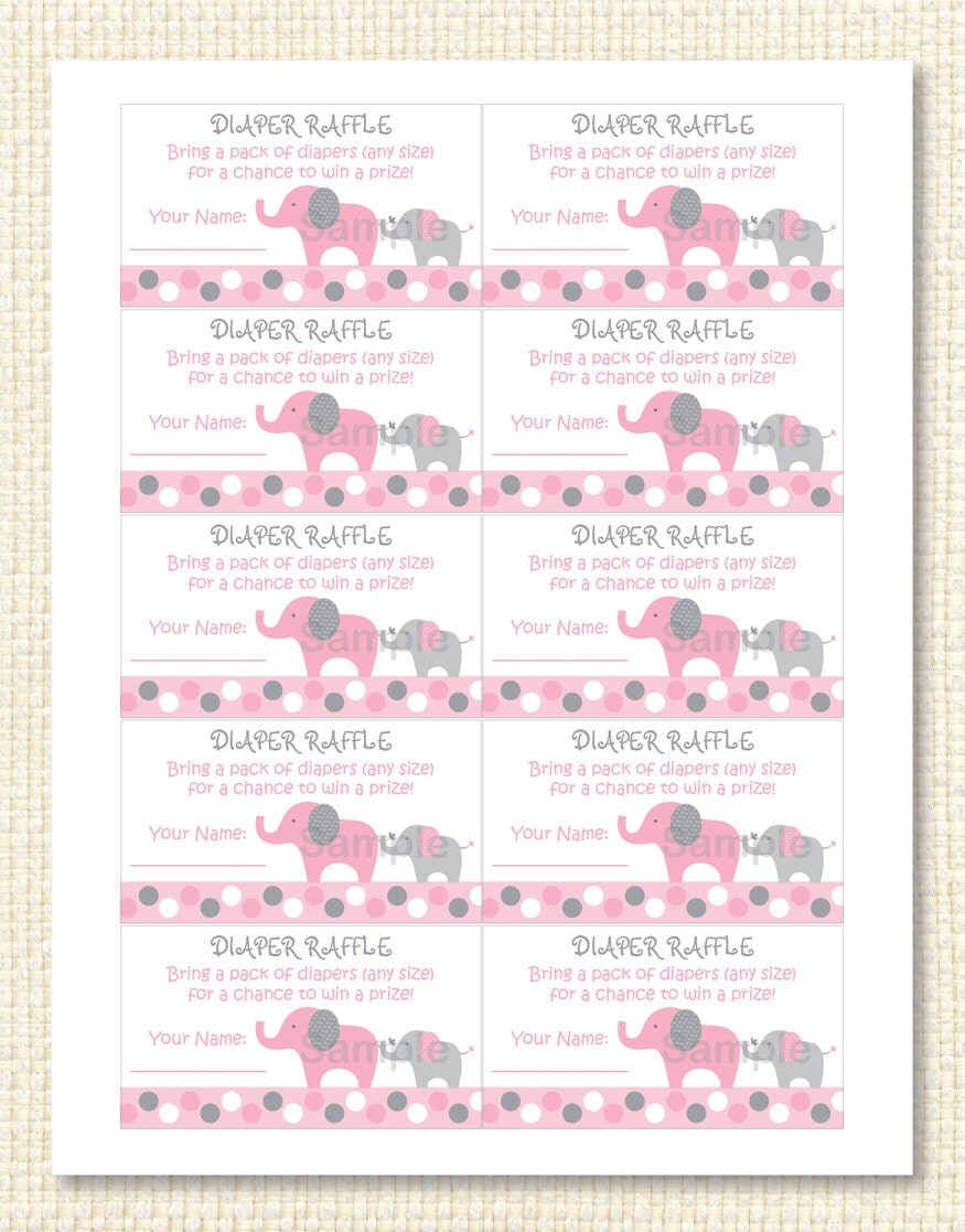 Pink Elephant Diaper Raffle Tickets INSTANT DOWNLOAD by Little Prints ...
