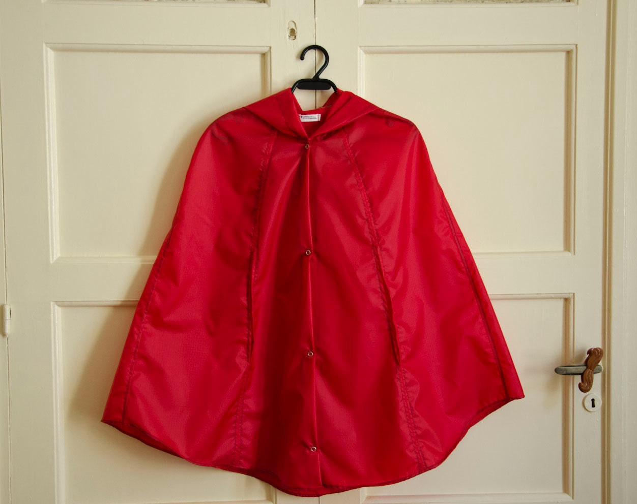 Red Raincape, Vintage Inspired Cape with Hood, Waterproof, Unisex Rain Jacket - karmologyclinic