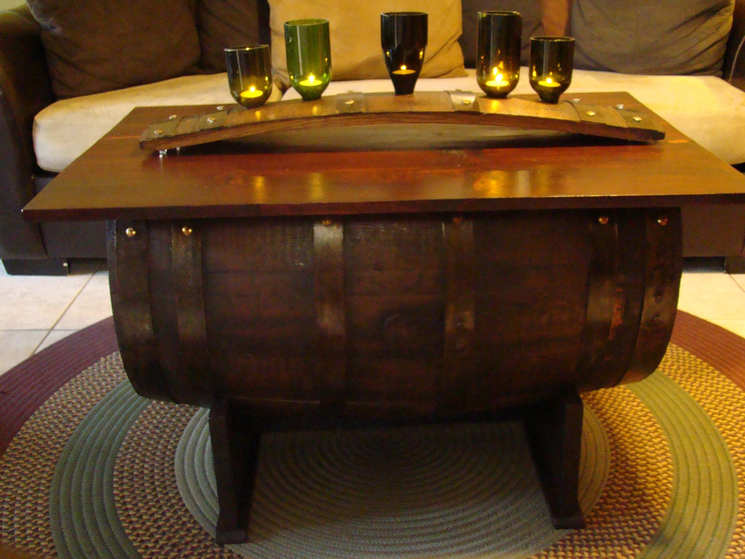 Barrel Coffee Table Storage Trunk Made By