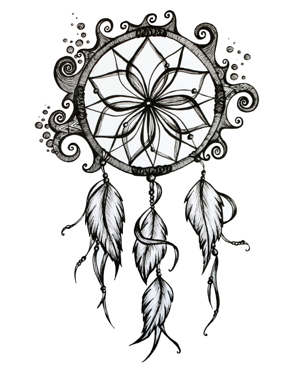 Beautiful Simple Line Art : Dream catcher drawings sketch coloring page