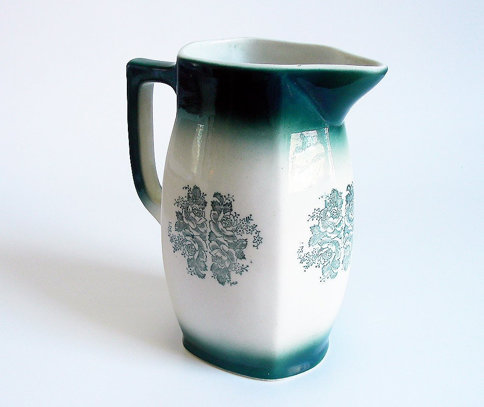 Vintage Serveware Art Deco Pottery Pitcher - Dark Emerald Green Ombre with Floral Rose Motif - Home Décor Color Trend - Gift under 30 - recombobulated