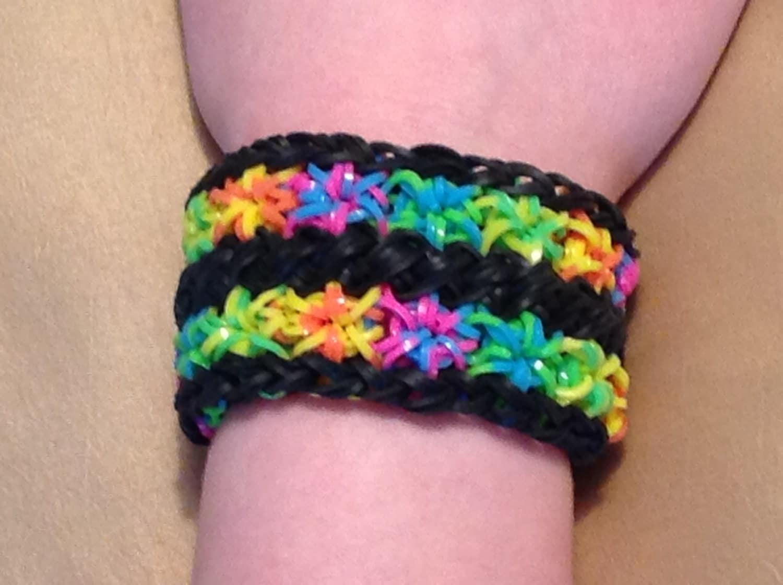 Rainbow Loom Bracelet - Double Starburst Cuff Bracelet - Rainbow Tie    Rainbow Loom Double Starburst