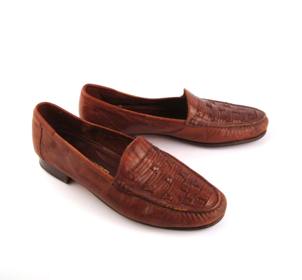 Woven Leather Loafers Vintage 1970s Jarman By