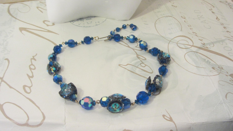 Vintage blue aurora Borealis choker glass iridescent beads Glass flower beads choker blue glass earrings glamor weddingscrew earrings