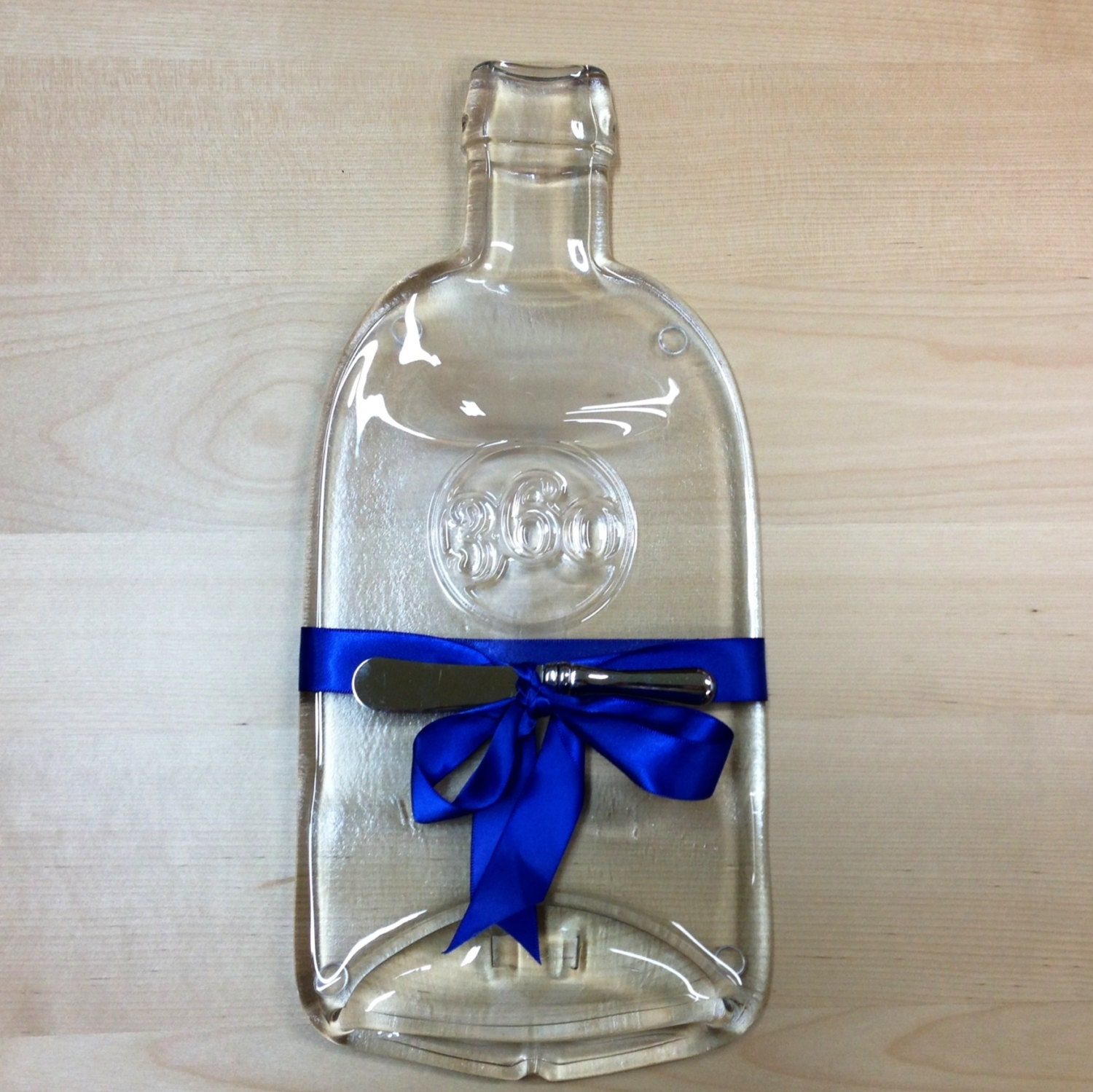 Items similar to melted bottle cheese plate 360 organic vodka clean clear modern serving dish - How do you melt glass bottles ...