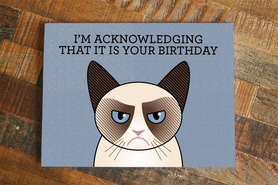 Funny grumpy cat birthday