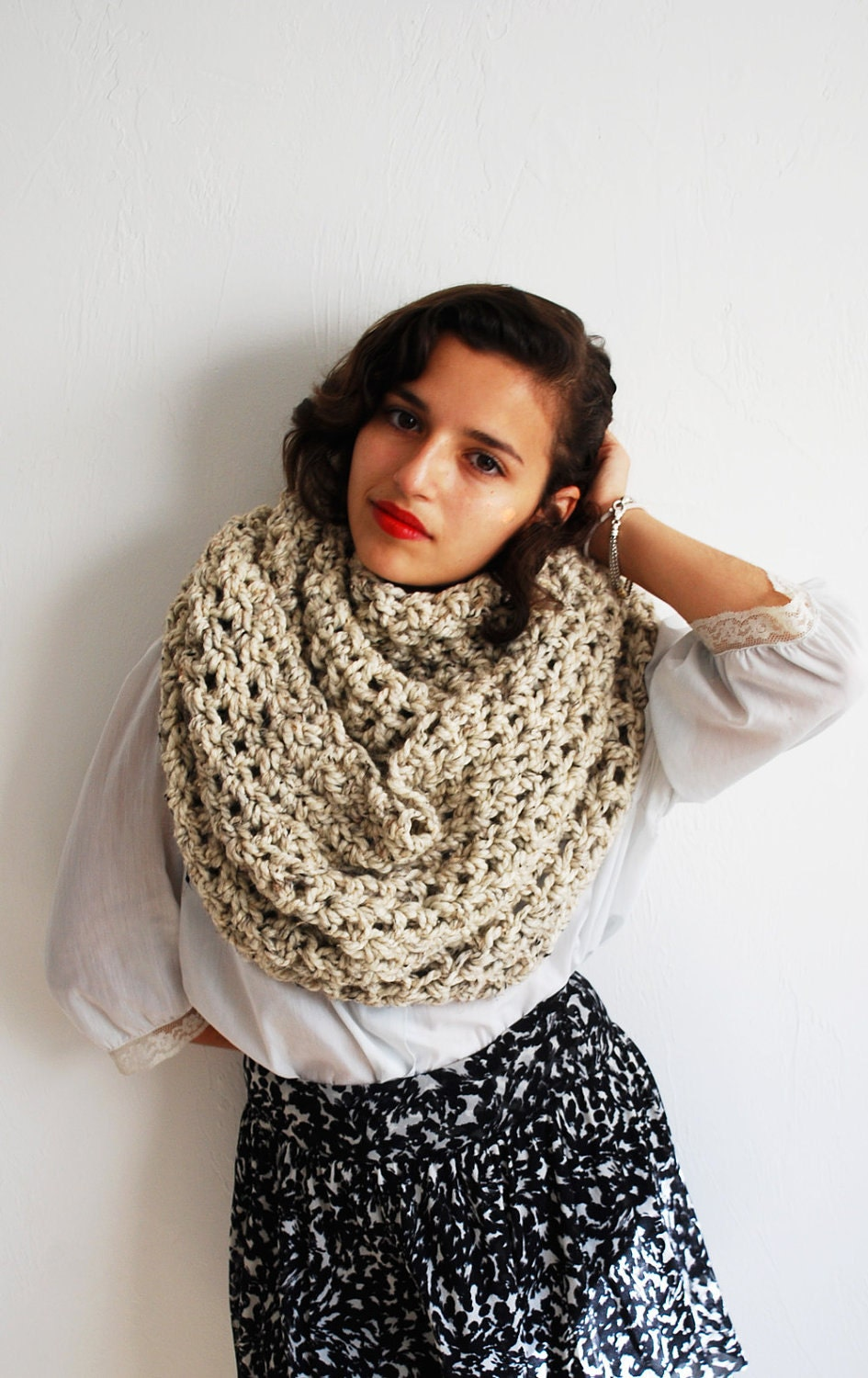 Oversized Hood Knitting Pattern : The Oversized Cowl or Hood Hand Knit in Oatmeal by ...