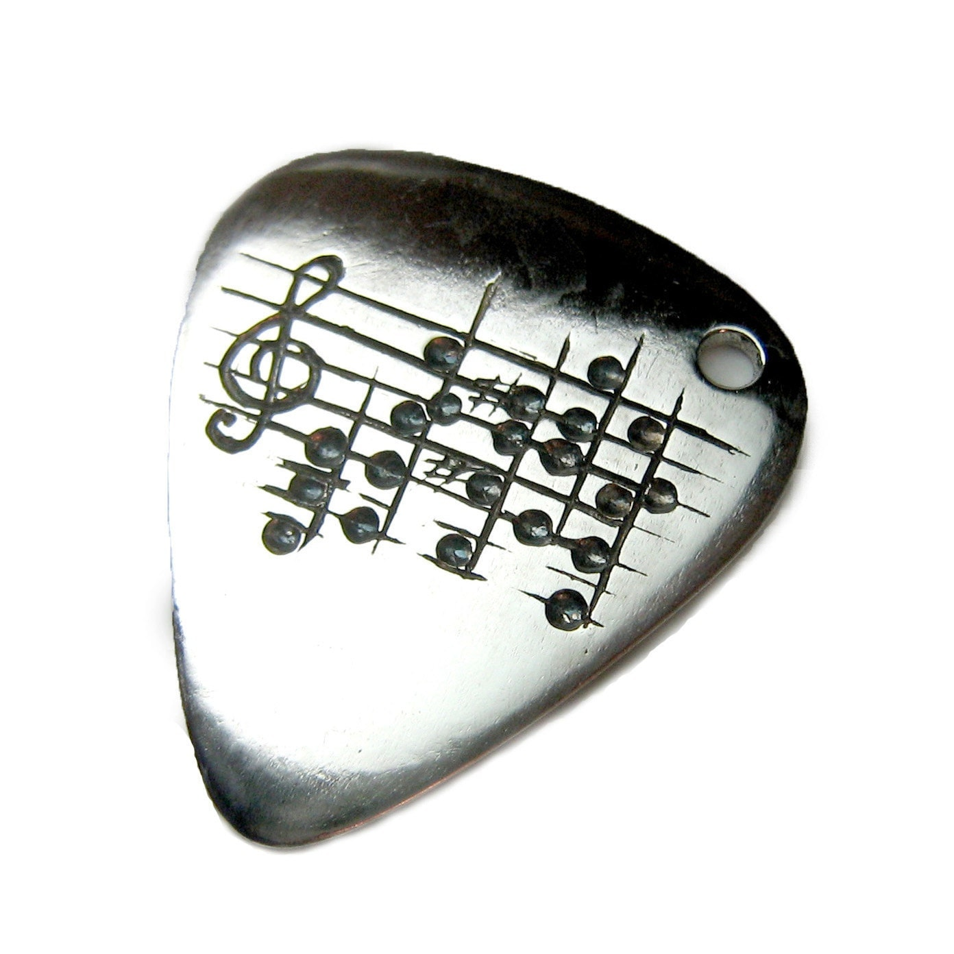 Your Song Guitar Pick Necklace - Custom Engraved Notes to Your Choice of Song - Musician - Unique Man/Unisex Gift - Rickson Jewellery - Ricksonjewellery