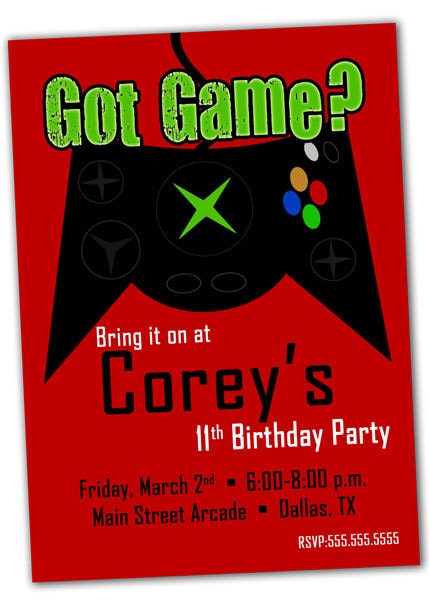 This is a graphic of Breathtaking Free Printable Video Game Party Invitations