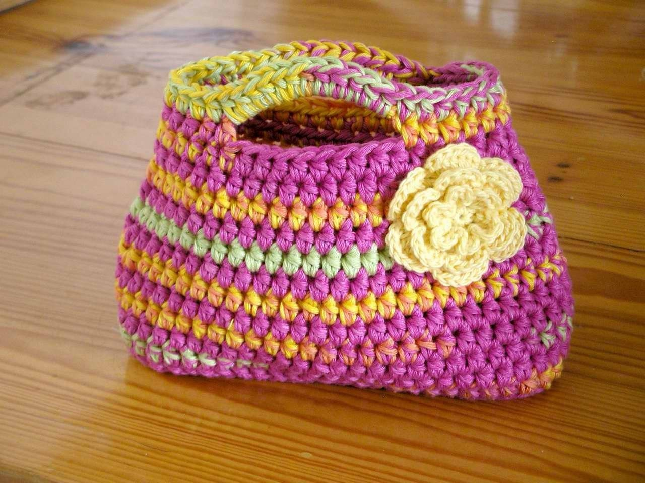 Crochet Simple Bag : Easy Peasy Little Kidz Bag Crochet PATTERN by bubnutPatterns